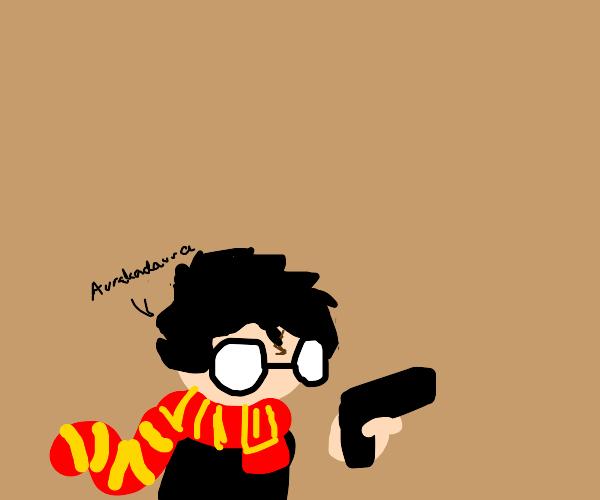 Harry Potter's got a gun!