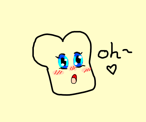 Slice of bread with blushing anime face on it