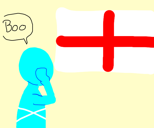 blue people boo at england flag