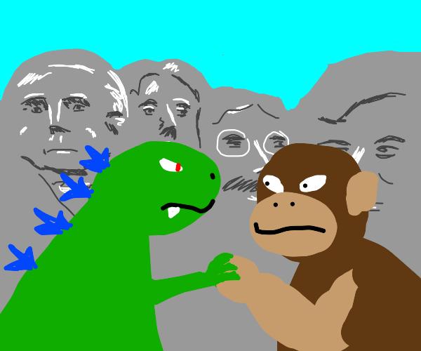 Godzilla vs King Kong at Mt. Rushmore