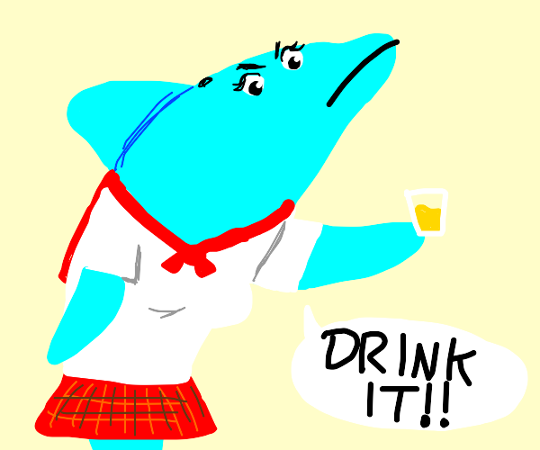 Dolphin girl wants you to drink it!