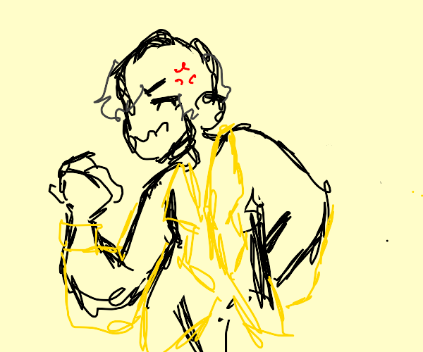 very angry guy is yelling in a yellow suit