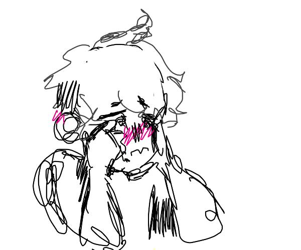 black and white in pink blushing anime boy