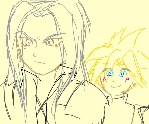 Cloud admires grumpy Sephiroth