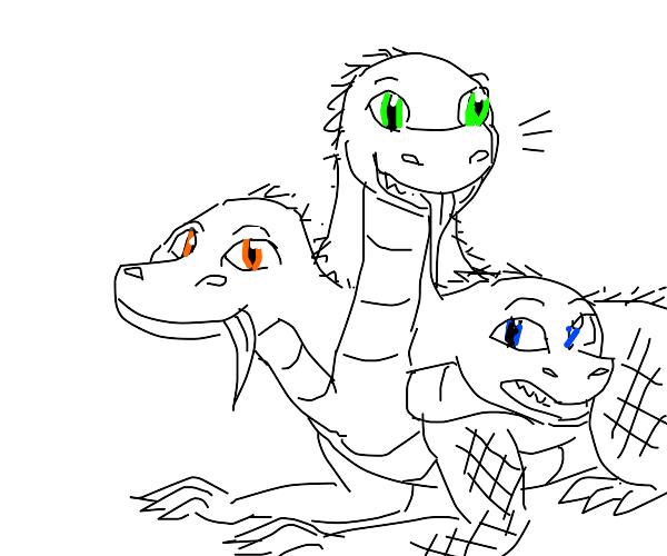 3 headed cute lizard