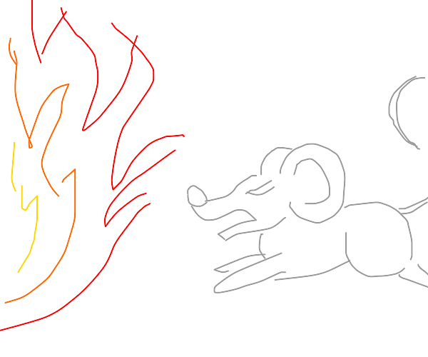 Mouse runs into fire