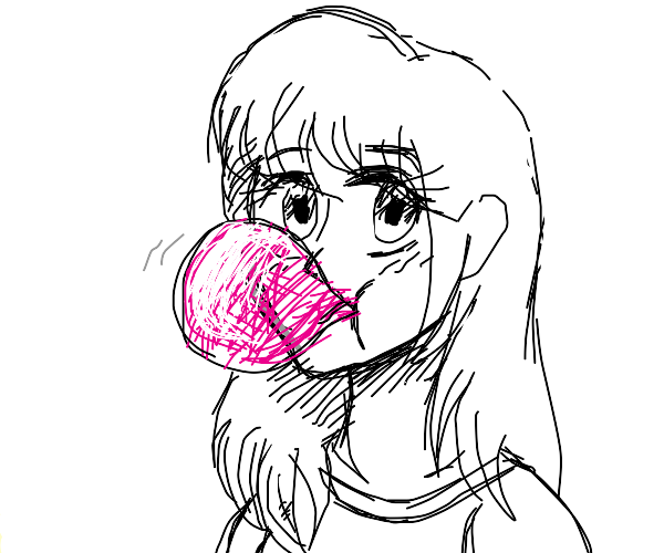 Anime Girl Chewing Gum