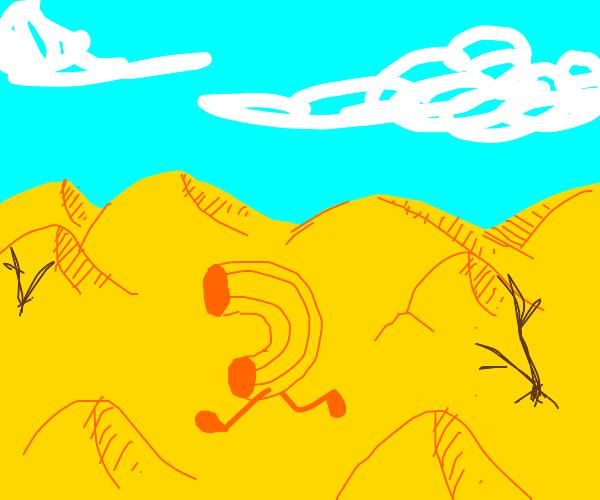 Macaroni walks through a cheese desert