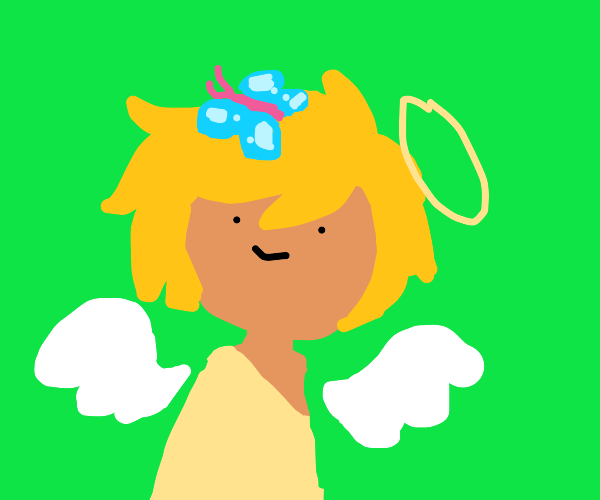 Angel with butterfly on head
