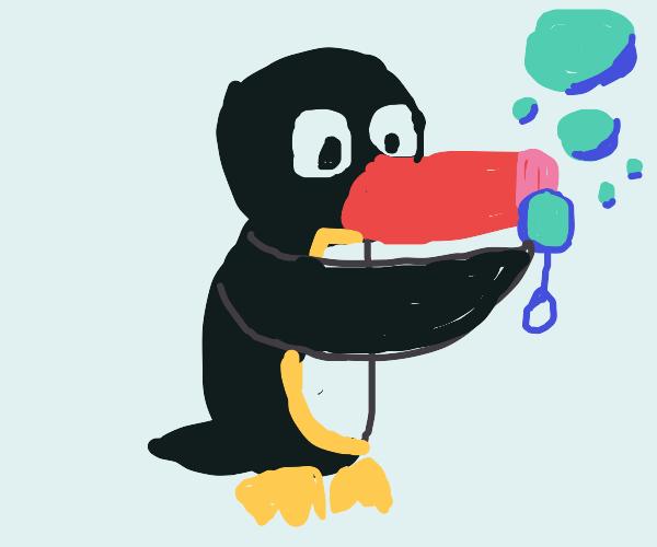 Pengu blowing Bubbles