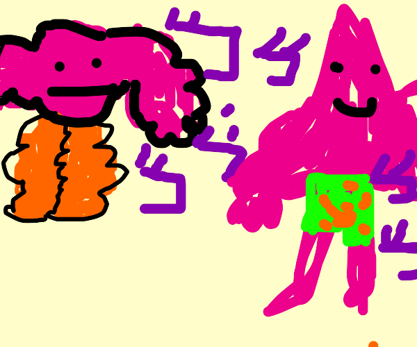 JoJos but with patrick star and kirby