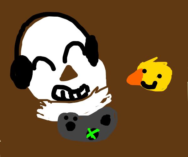 Sans plays Xbox with a ducky