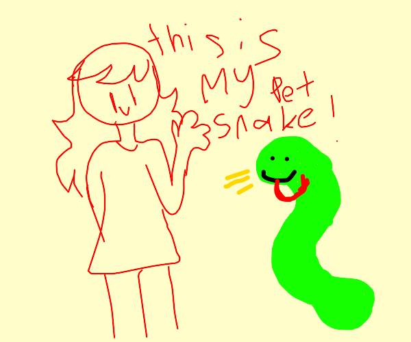 Girl with pet snake