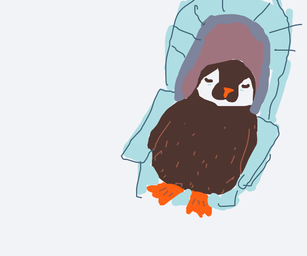 penguin sitting on an icy throne
