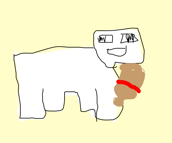 a sheep with a baseball bat