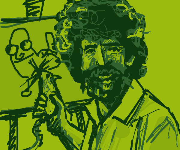 Bob Ross drawing with a mouse
