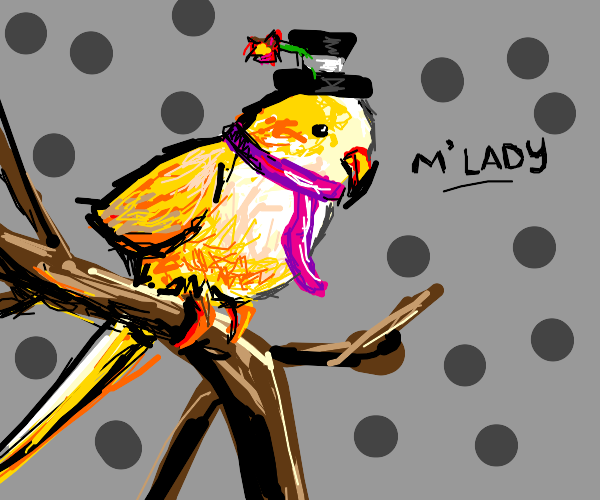 Fancy parrot with a top hat and pink scarf