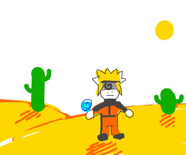 Anime boy in the desert