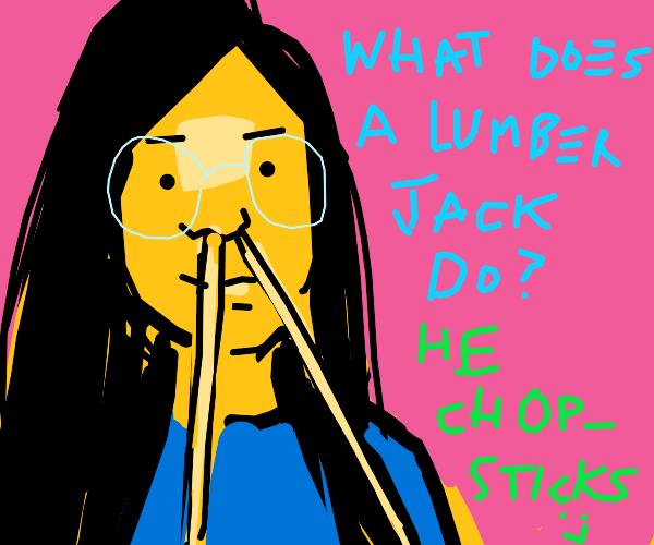 Asian grl wth blu shrt with chopstiks up nose