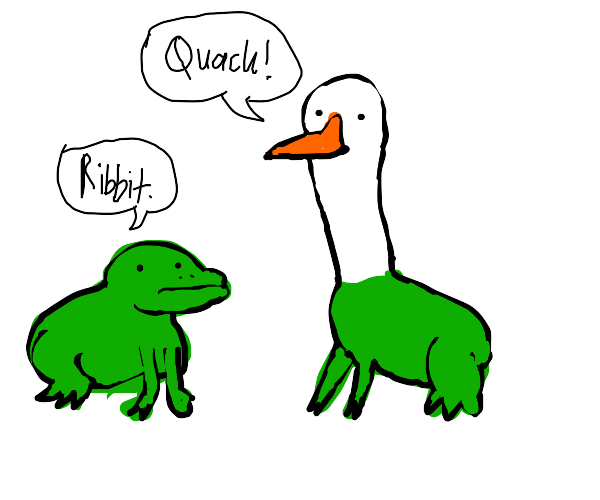 A frog, and a frog with a duck head.