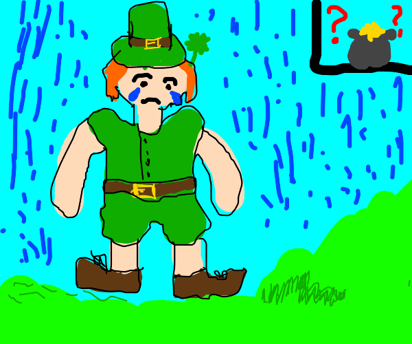 Sad leprechaun lost his gold and is rained on