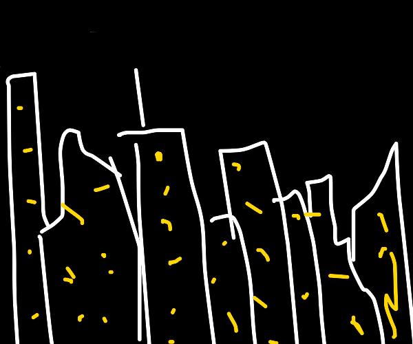 skyscrapers in the dark