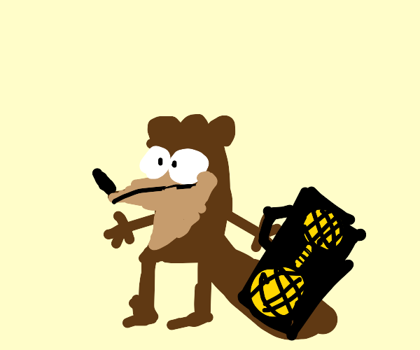 Rigby holding boombox