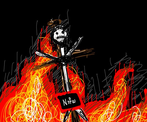 Jesus on a cross with fire behind it