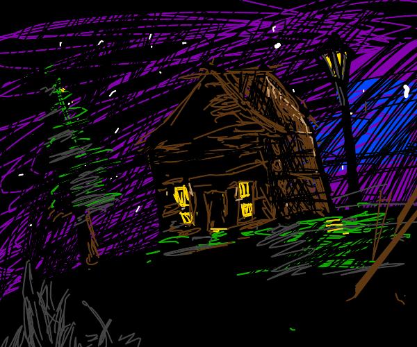 Peaceful log cabin at night