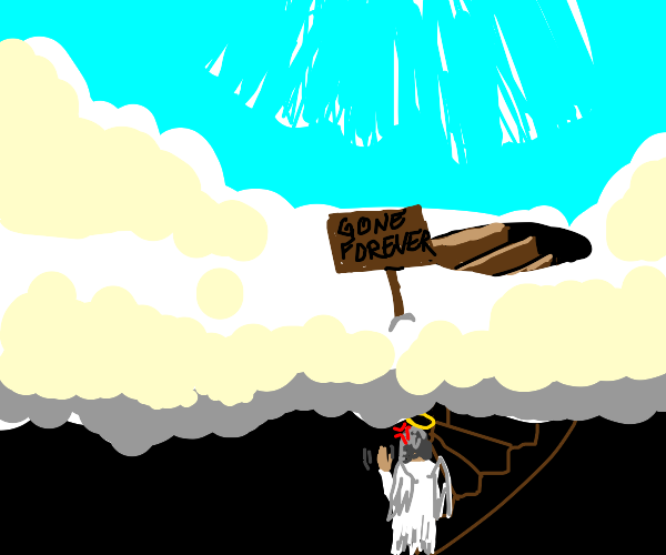 God gets angry and leaves heaven