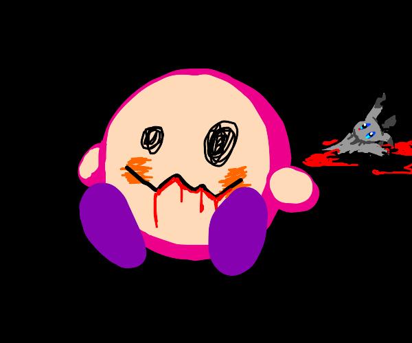 Kirby has eaten mimiku and has their face