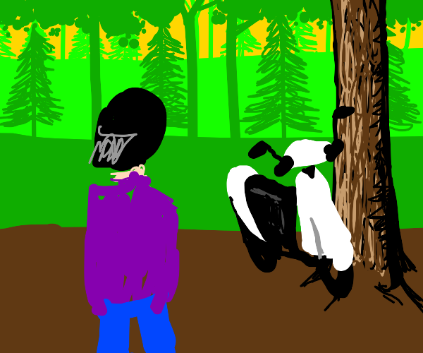 Girl nxt to a tree and a scooter