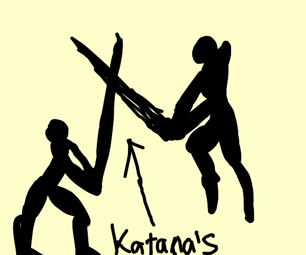 two people fighting with katanas
