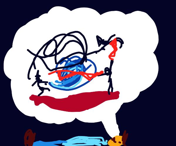 Wizards battle in a man's dream
