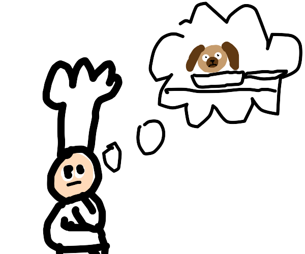 Cook thinks about frying a dog