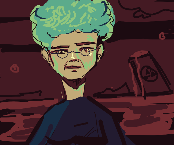 old lady w/ afro in a red wasteland