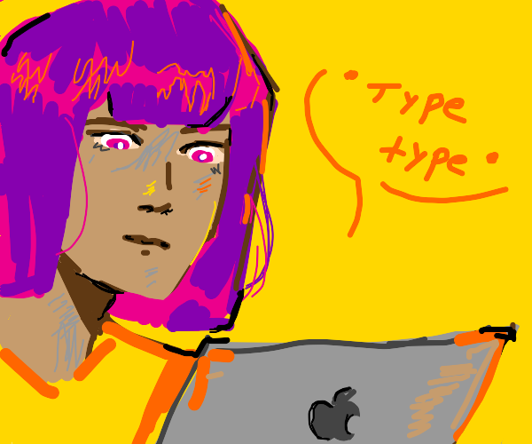 Purple haired girl with laptop