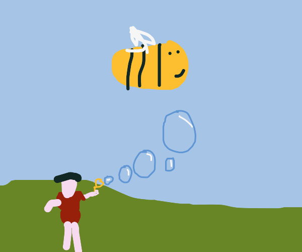 Bee flying over some bubbles