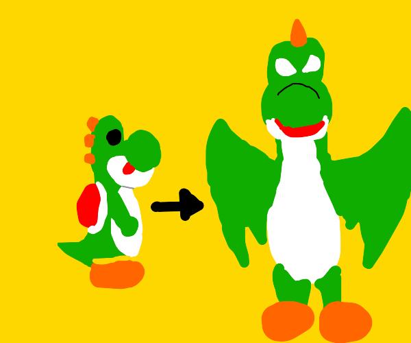 Yoshi evolves into a dragon