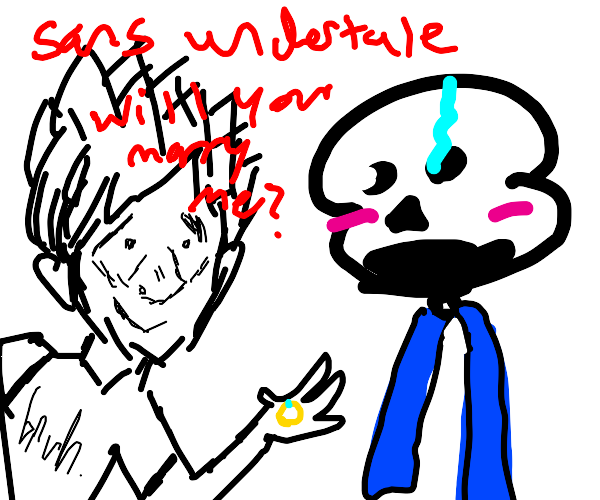 White Haired Anime Boy Proposes To Sans