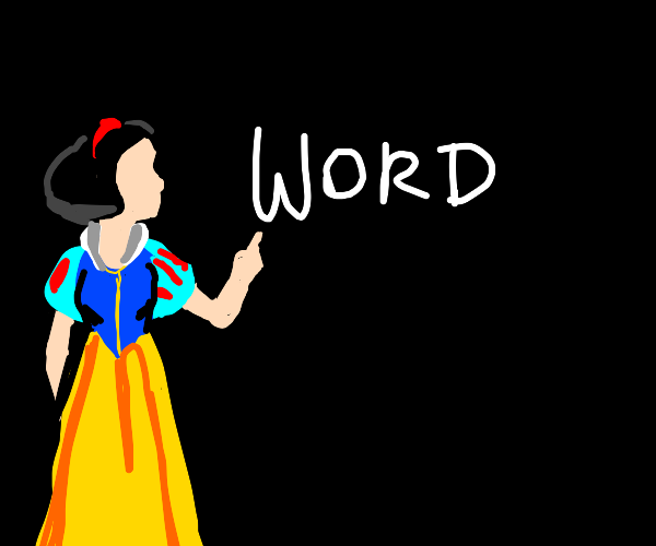 Snow White pointing at a word