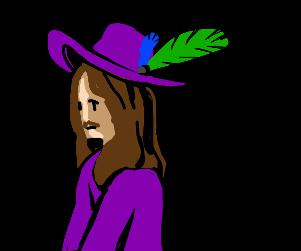 Some man wearing a weird hat