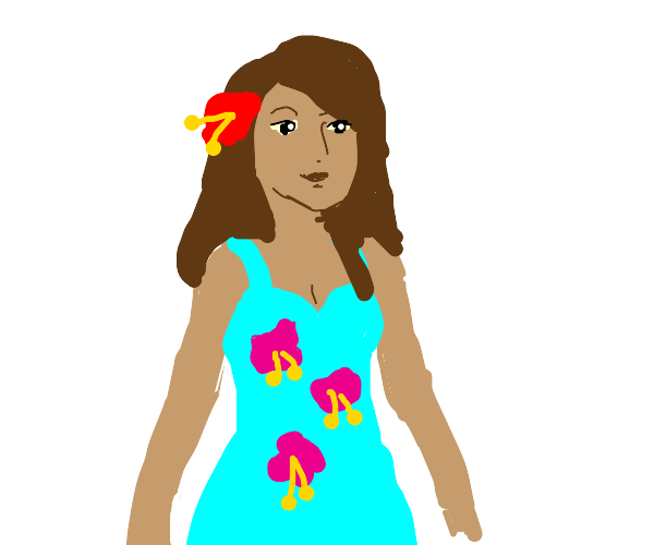 woman with hibiscus flower dress and in hair