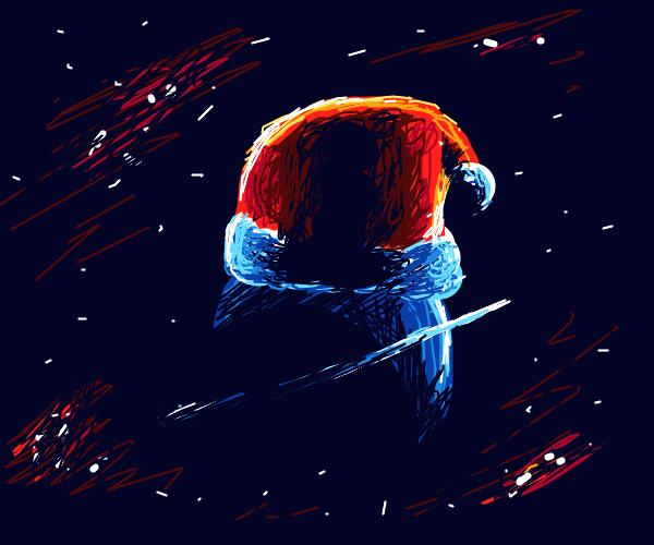 Planet has Santa hat