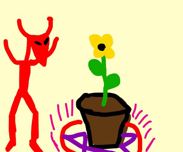 Demon summoning a plant