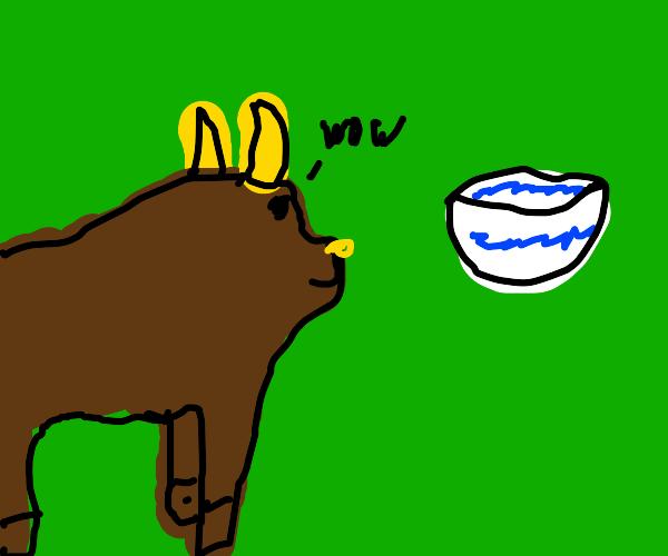Bull admiring dishes (China?)