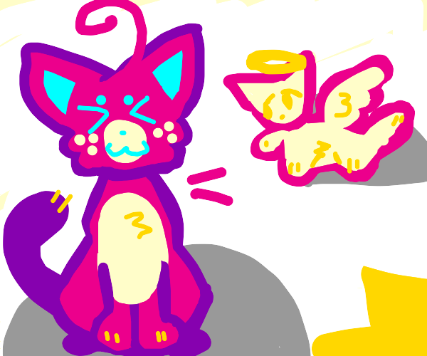 pink cat with a cat angel