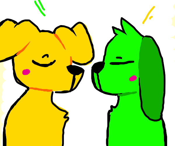 A yellow and green doggo
