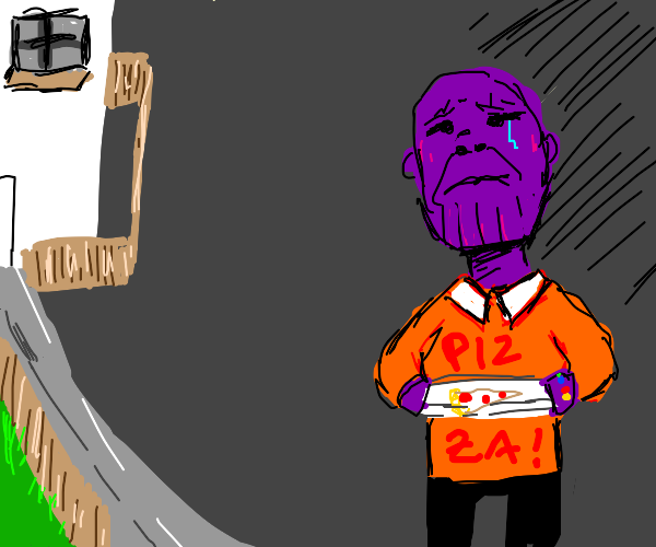 Thanos delivering pizza
