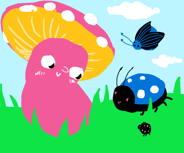 pink mushroom making friends with bugs